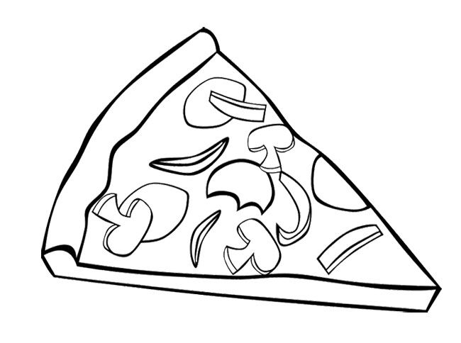 Junk Food Pizza Coloring Page For Kids Jidlo