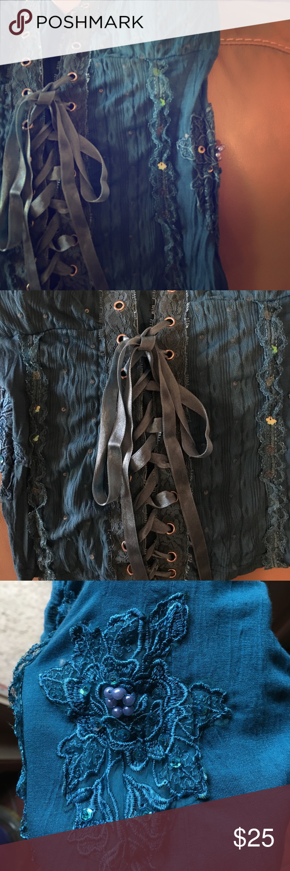 Lace up Corset Top This top has beautiful beaded details, built in padding on the bust and it laces up in the front like a corset. Worn once 💕 misomiso Tops Blouses
