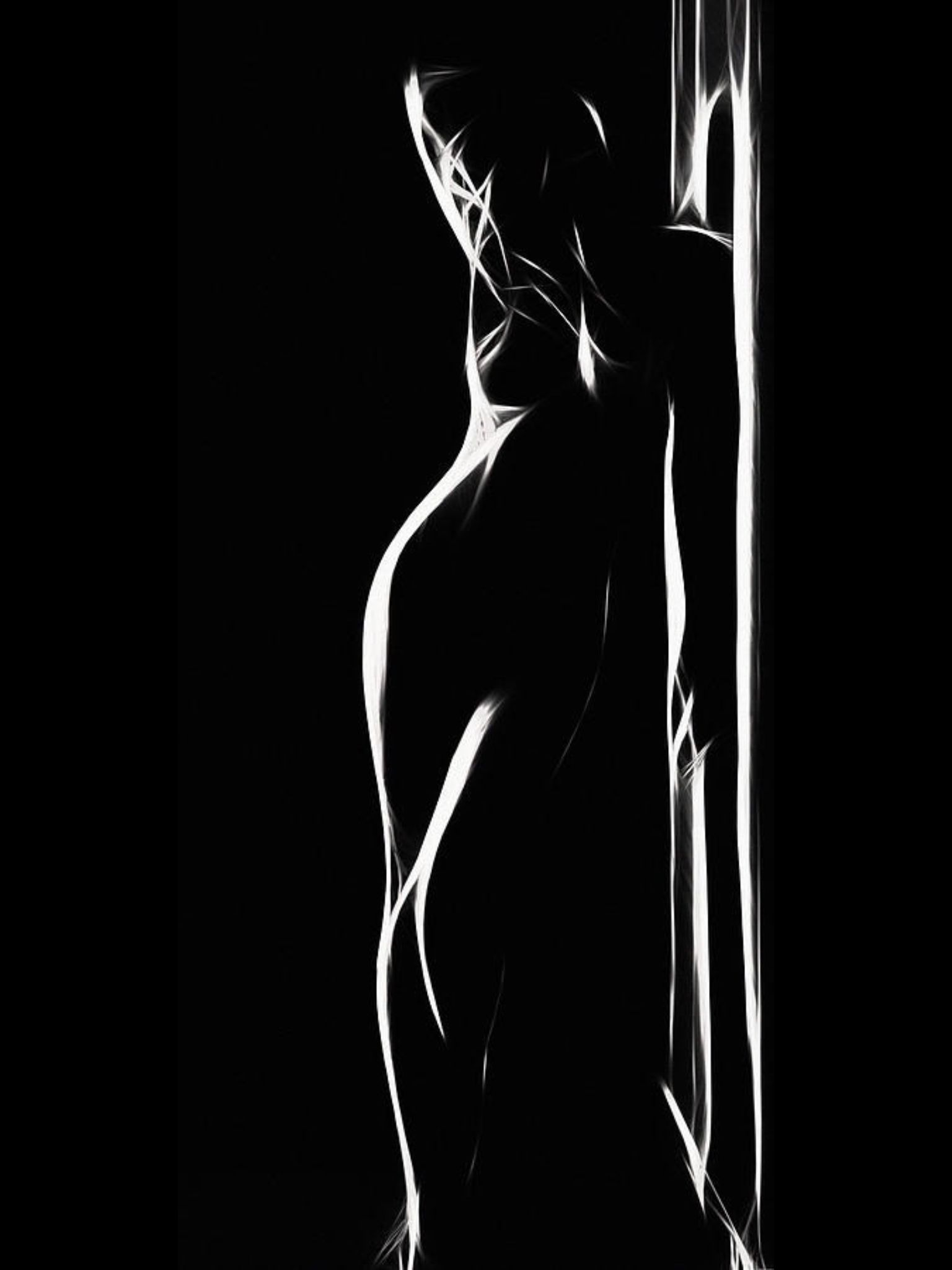 black silhouette white Nude and