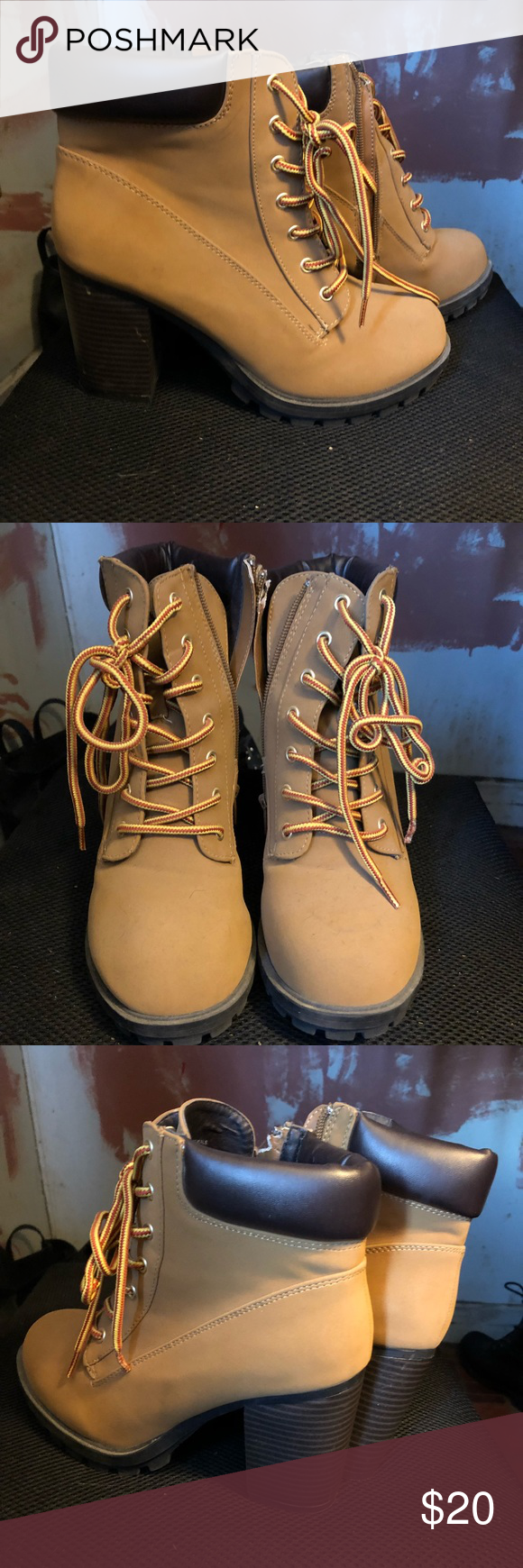 Charlotte Reusse High Heel Work Boot Brand: Charlotte Reusse Size: 8 (I usually wear a 7-7.5 and they fit perfectly)  Condition: Brand New (few scuff marks from being stored shown in pictures) Charlotte Russe Shoes Ankle Boots & Booties