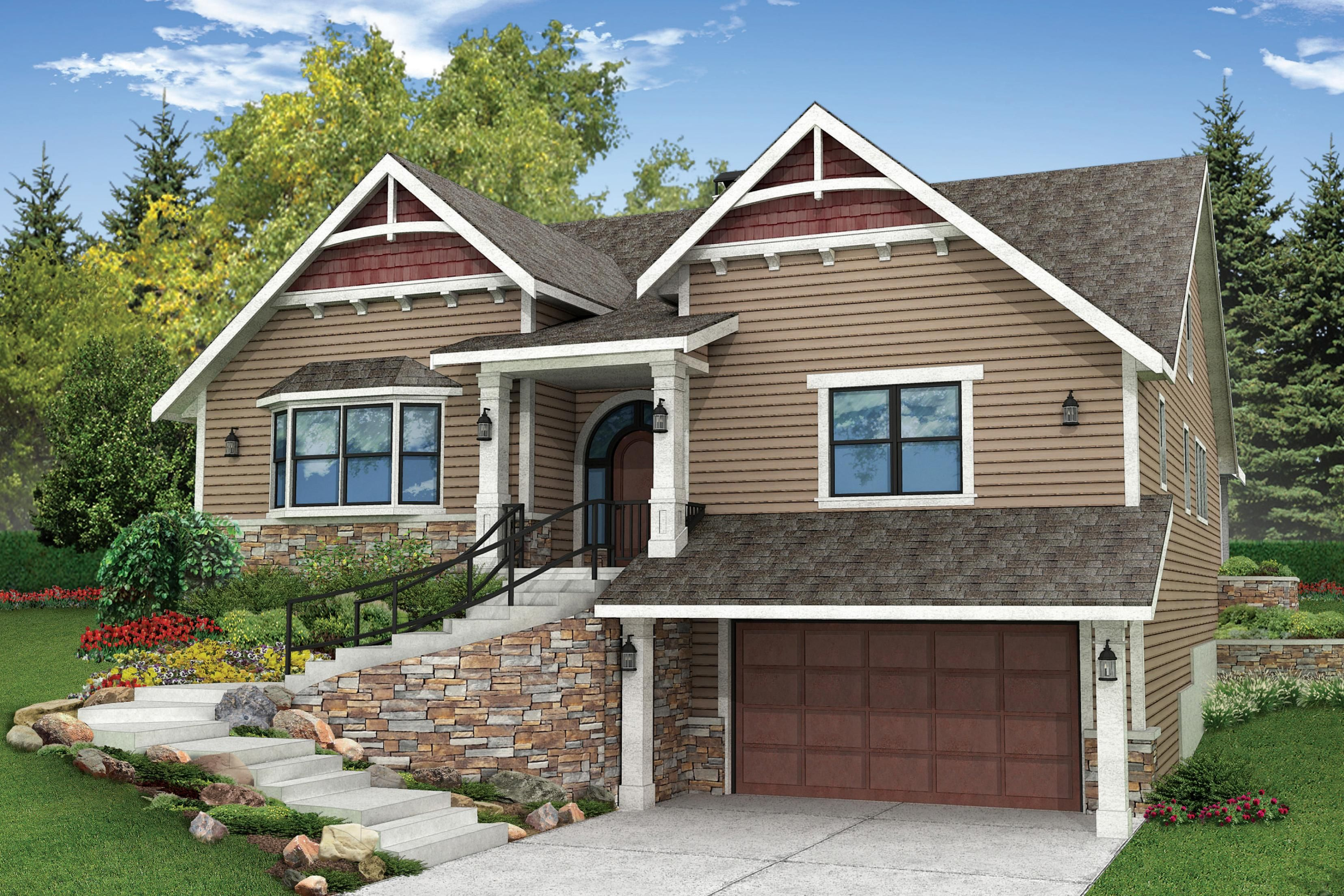 Craftsman House Plan Springvale 30 950 Front Elevation Craftsman House Plans Sloping Lot House Plan Craftsman House