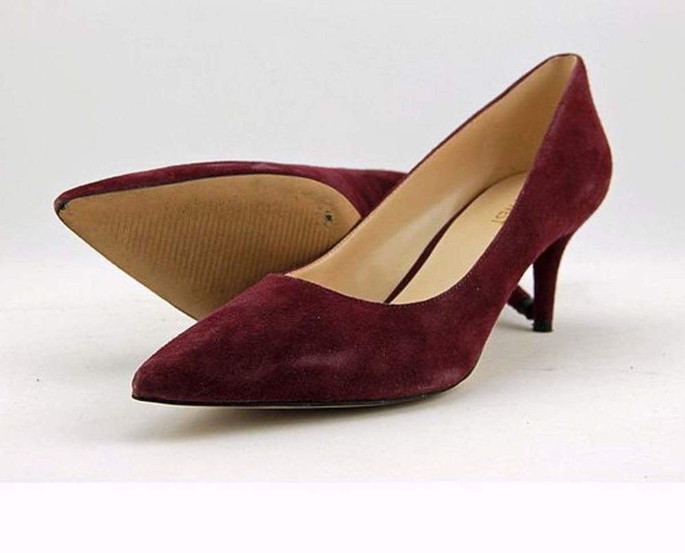 56aebd59335 NINE WEST Womens 8.5 M Classic Heels Wine Suede Leather Pointed Toe ...