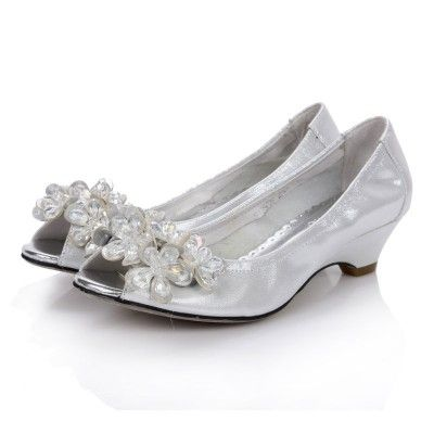 Low Heel Rhinstone Platform Open toes Silver Comfortable Wedding ...