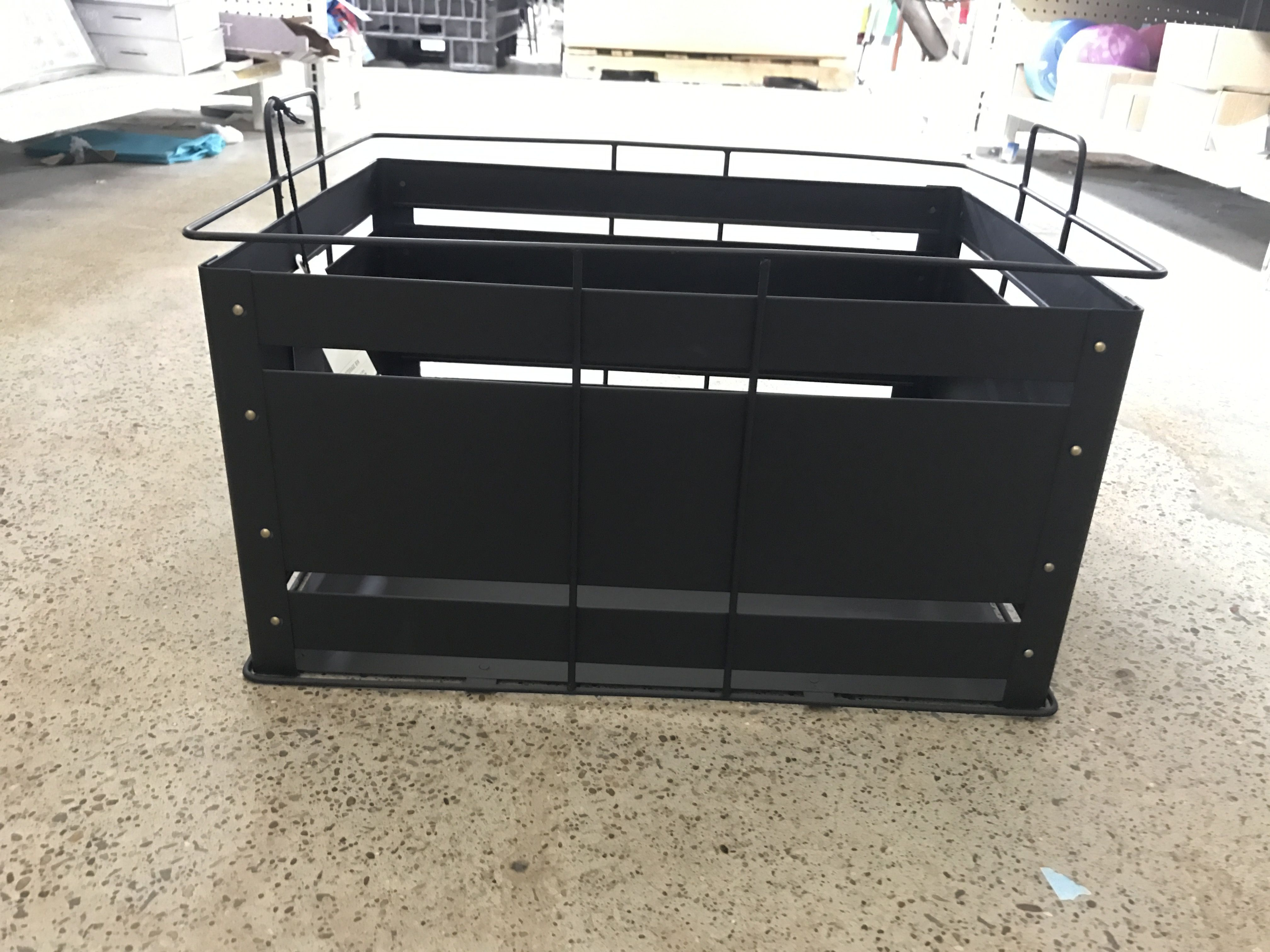 Black W Brass Accent Decorative Metal Bins For Storage