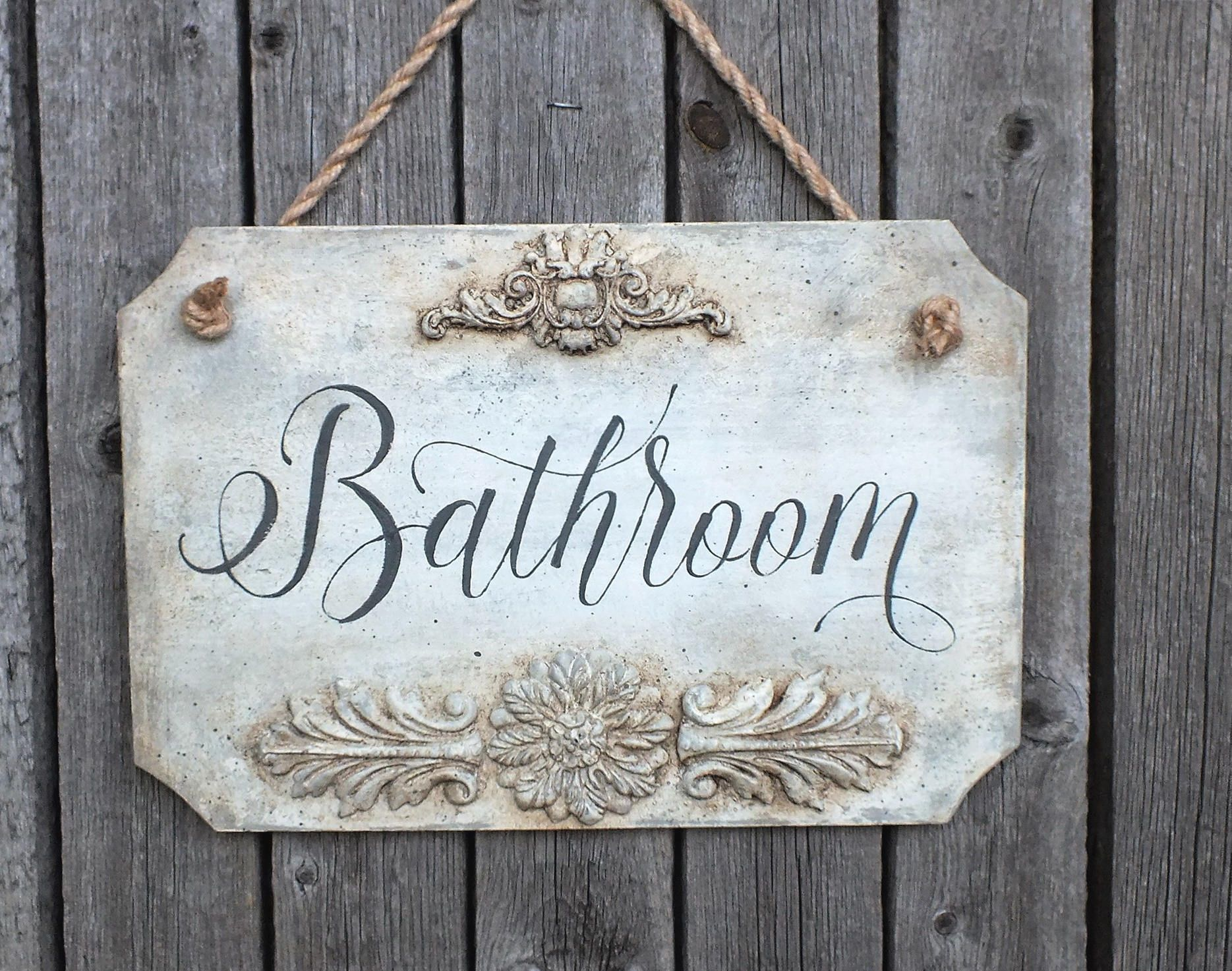 Vintage style bathroom sign white distressed wooden plaque home