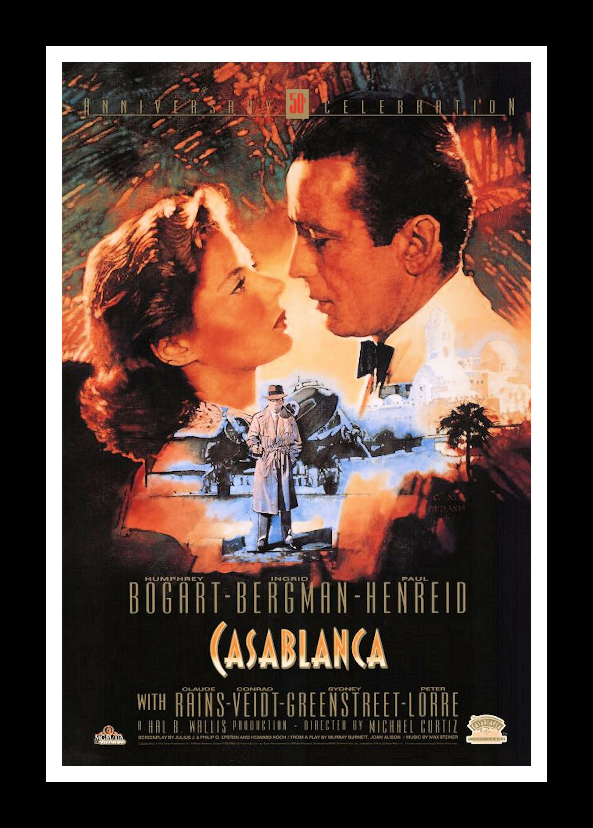 """07fff6c44d41 Casablanca Movie Poster •  35.00 - Frame is Included • 16"""" x 22"""" Comes  ready to hang. • Metal clips attached on back. • Backing board is mounted  on back."""