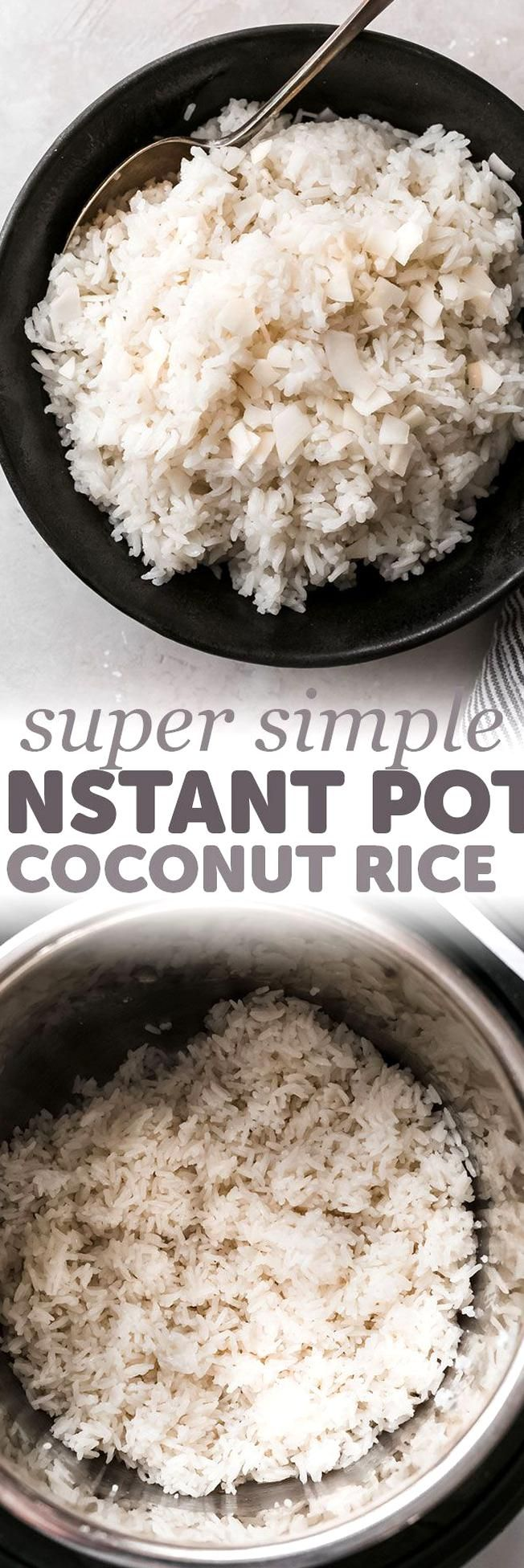 5 Ingredient Instant Pot Coconut Rice - Learn how to make coconut rice in the instant pot A simple recipe that takes about 5 minutes to toss together and goes with so many different types of cuisines! #instantpot #instantpotrecipes #instantpotcoconutrice #coconutrice #jasminerice #jasminecoconutrice  Littlespicejar