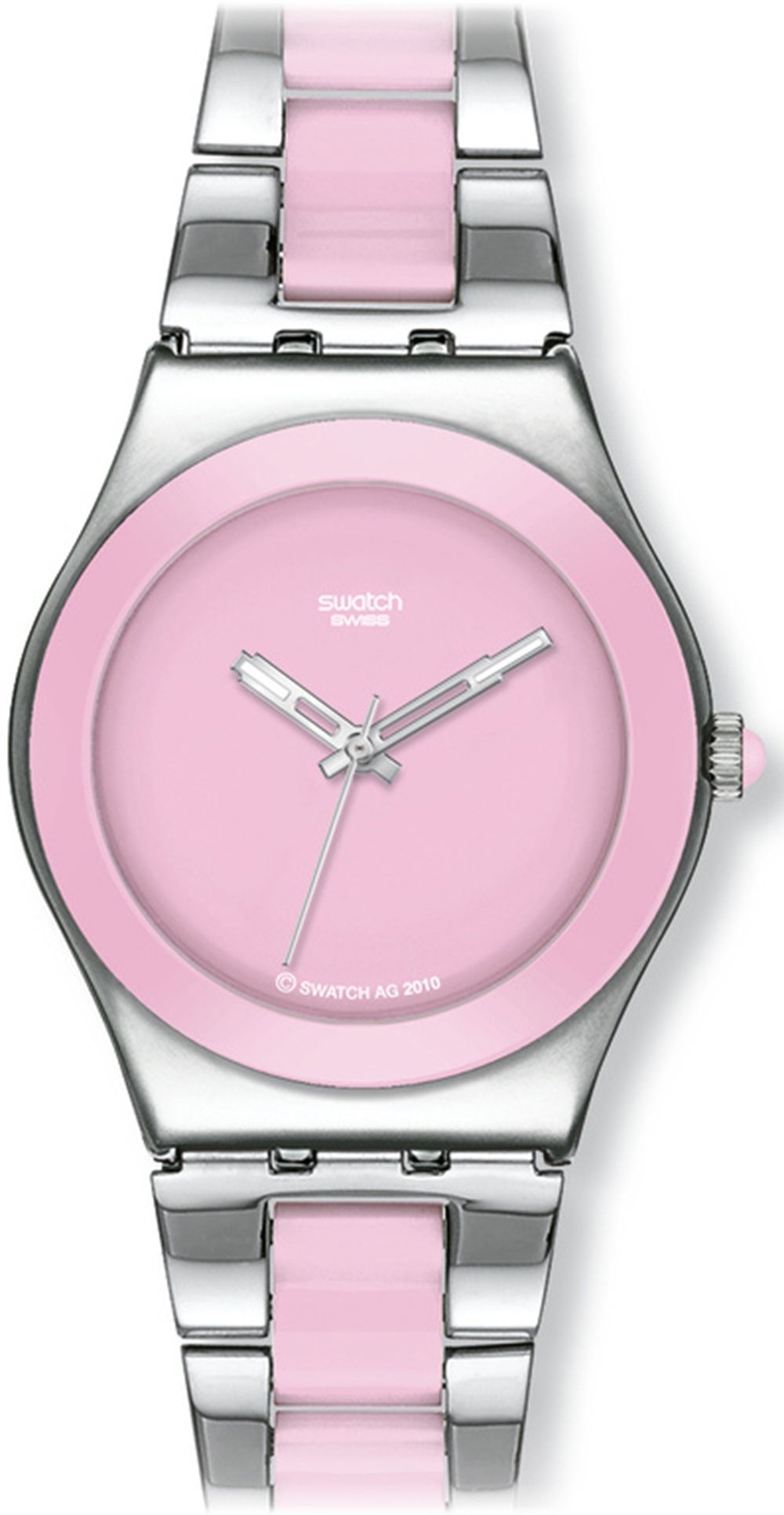 Swatch Womens Ceramic YLS167G Pink Ceramic Quartz Watch with Pink Dial - Mr Watch #MothersDay
