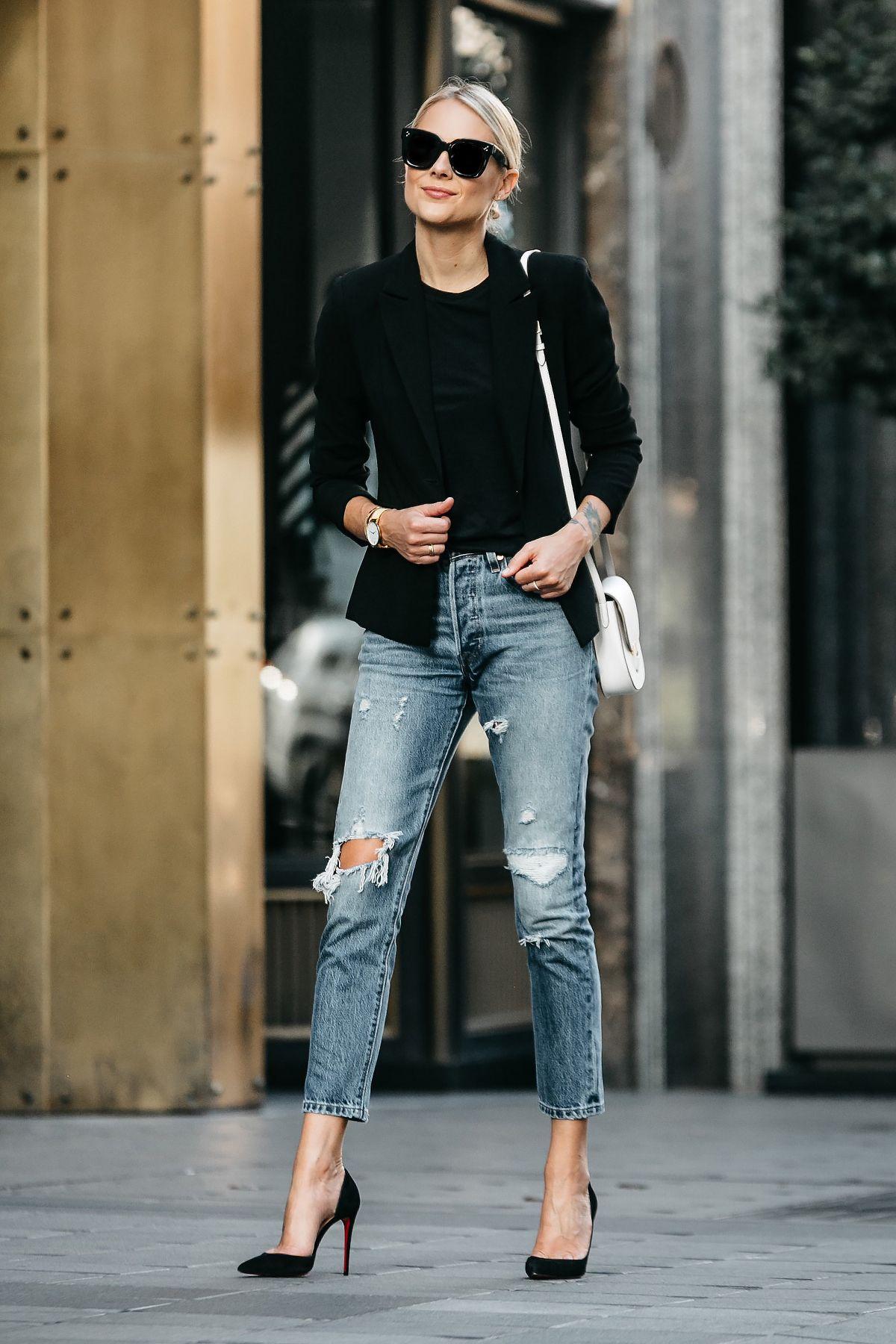 4baf9c1a4bf Favorite way to wear ripped jeans ---- Black Blazer Black Tshirt Denim  Ripped Jeans Outfit Christian Louboutin Black Pumps Celine Trotteur White  Handbag ...