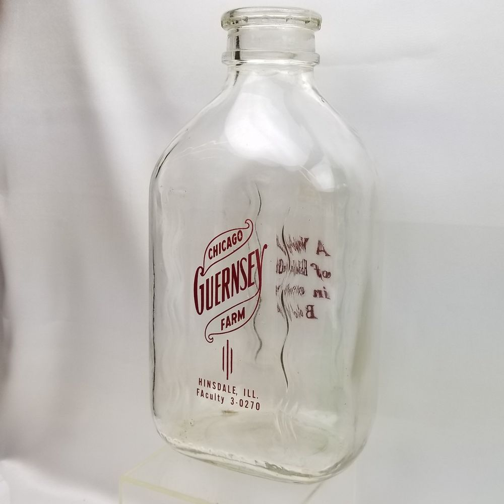 1 Vintage Milk Bottle Chicago Guernsey Farm Hinsdale Illinois Glass Maroon Pyro 2 Two Quart Qt Half Gallon Jug Vintage Milk Bottles Hinsdale Illinois Hinsdale