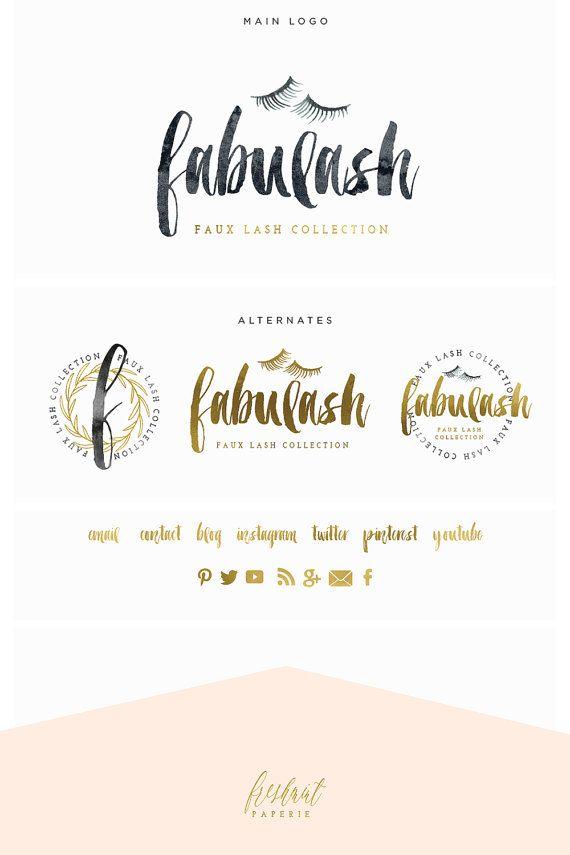 Lash Logo Brush Script Logo Design Branding Calligraphy Logo