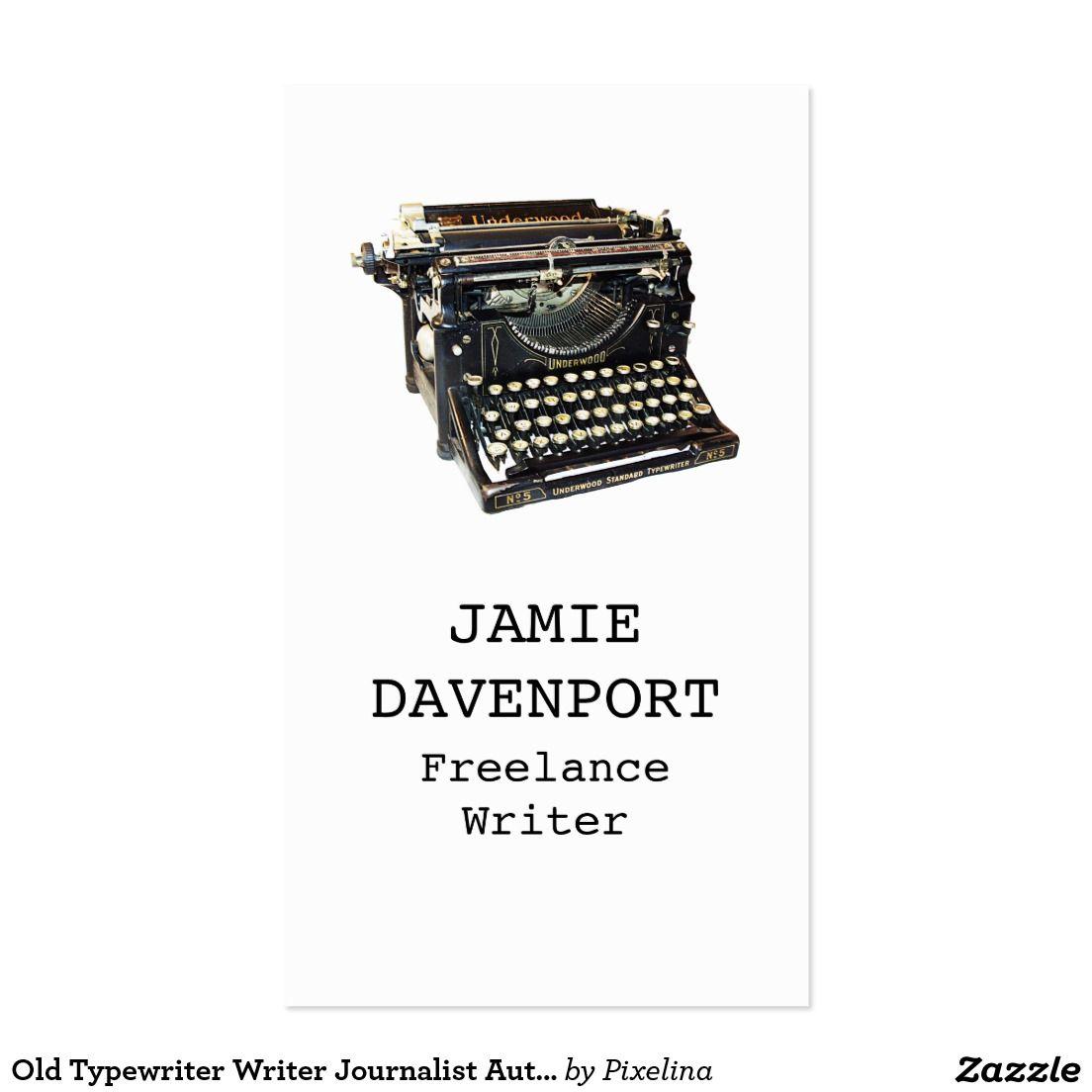 Old Typewriter Writer Journalist Author Business Business Card ...