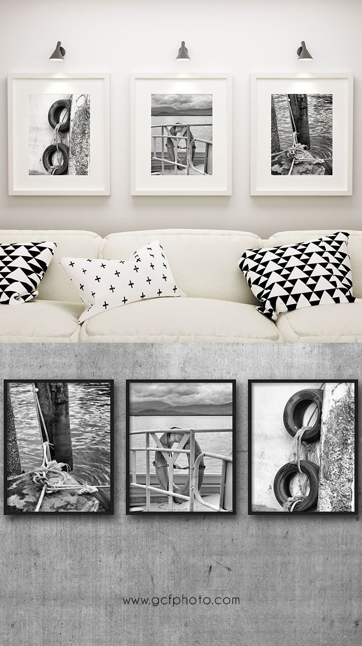 Nautical Decor set of 3 prints for bathroom or living room art ...