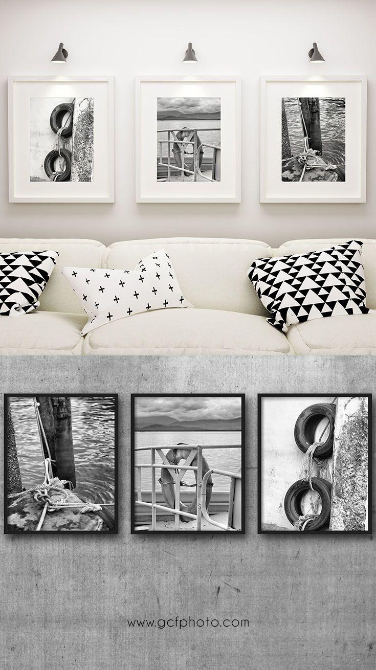 Nautical decor set of prints for bathroom or living room art