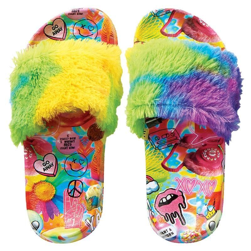 Iscream Psychedelic Fur Slides Shoes, Faux fur slides