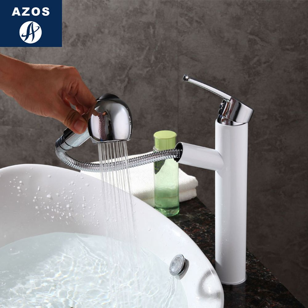 Bathroom Faucet Pull Out Single Handle Shower Swivel Spout Vessel