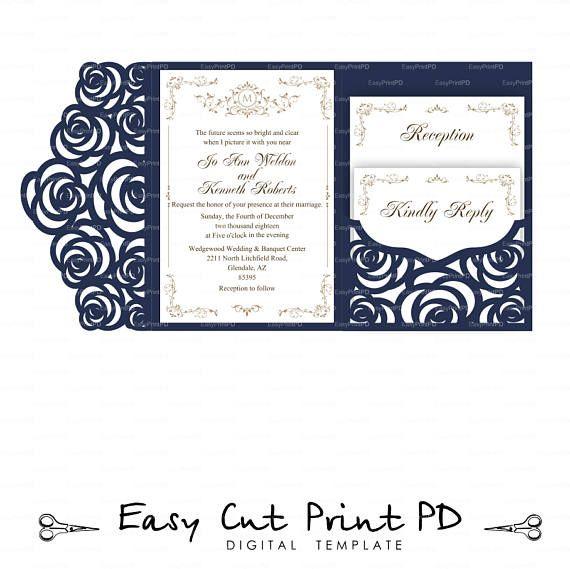 set of tri fold pocket roses envelope 5x7 wedding invitation svg dxf