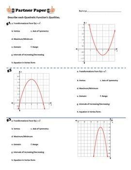 Quadratic Qualities Partner Paper Quadratics Quadratic