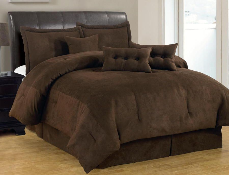 7 Pc Solid Brown Comforter Set Micro Suede Queen Size Bed In A Bag
