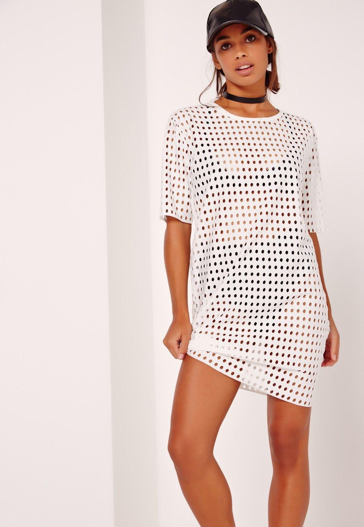 59253412ae4 Missguided - Fishnet T-Shirt Dress White