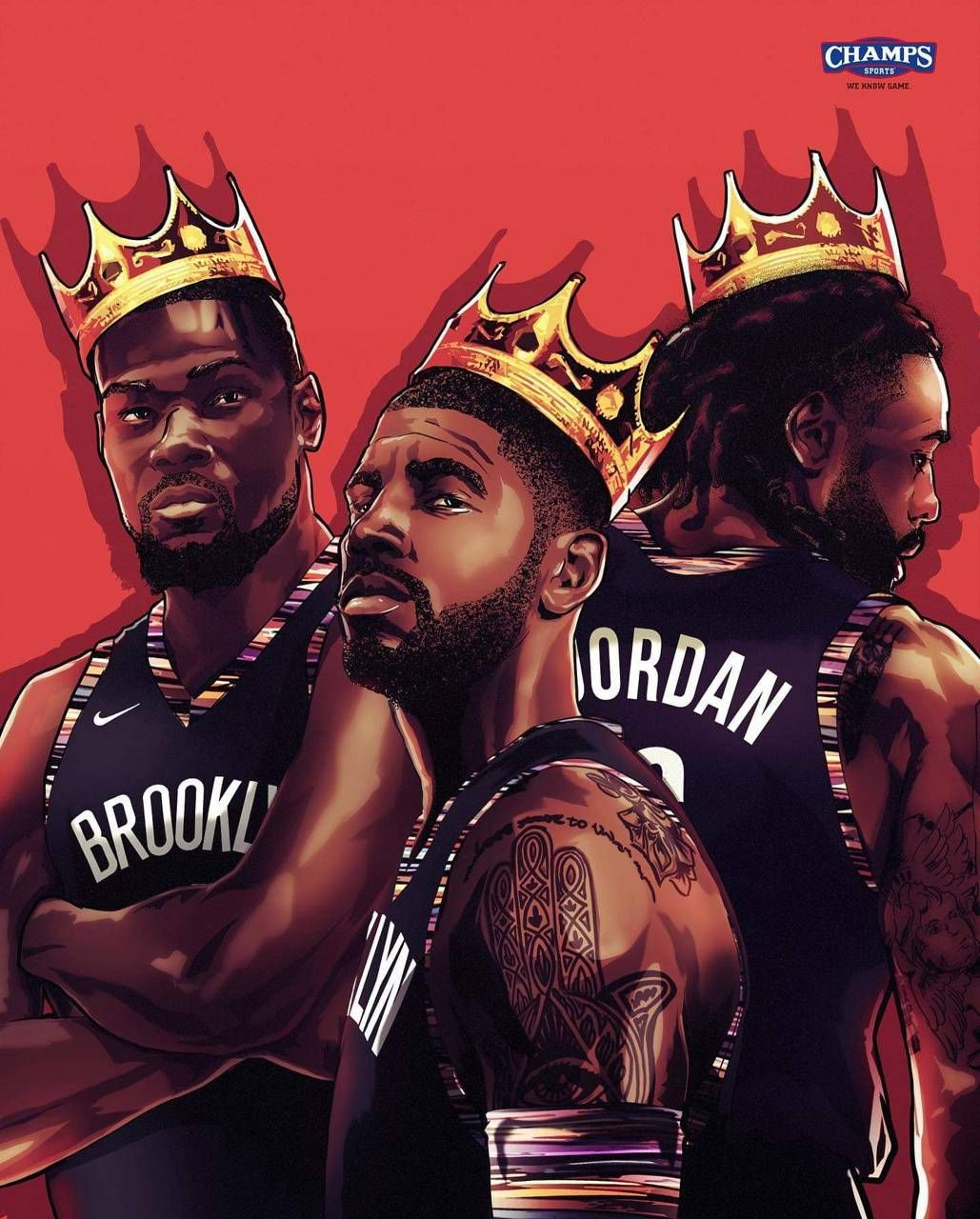 Brooklyn Nets Kd Kyrie Dj Kings Biggie Wallpaper Basketball Players Nba Nba Basketball Art Nba Mvp