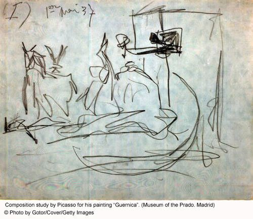 """A Sketch by Picasso for his famous painting """"Guernica"""""""