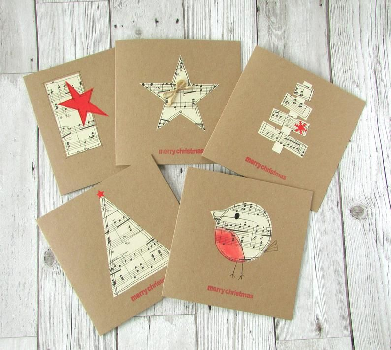Set of 5 Sheet Music Christmas Cards
