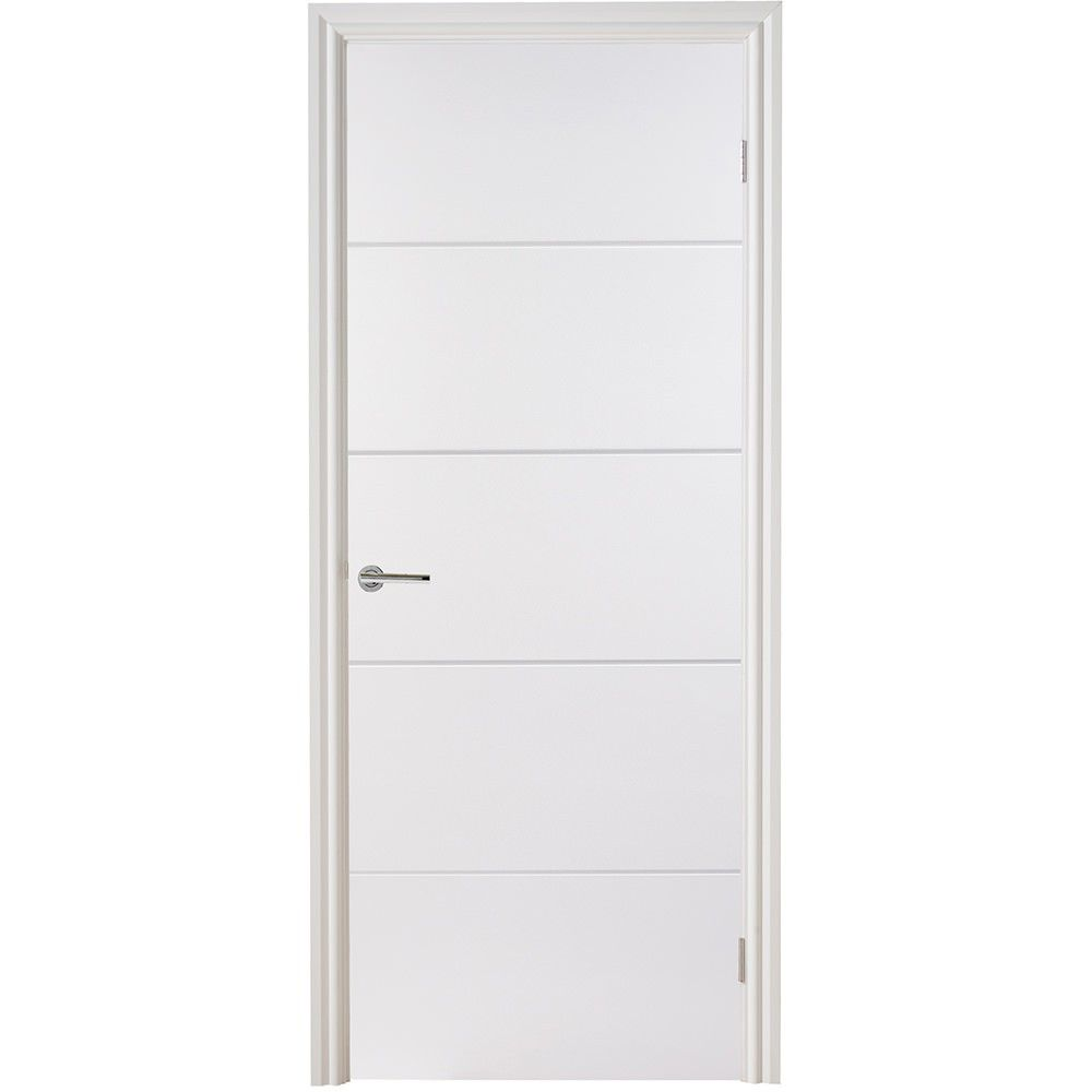 An internal white primed fire rated door featuring 4 horizontal panels. This door creates a