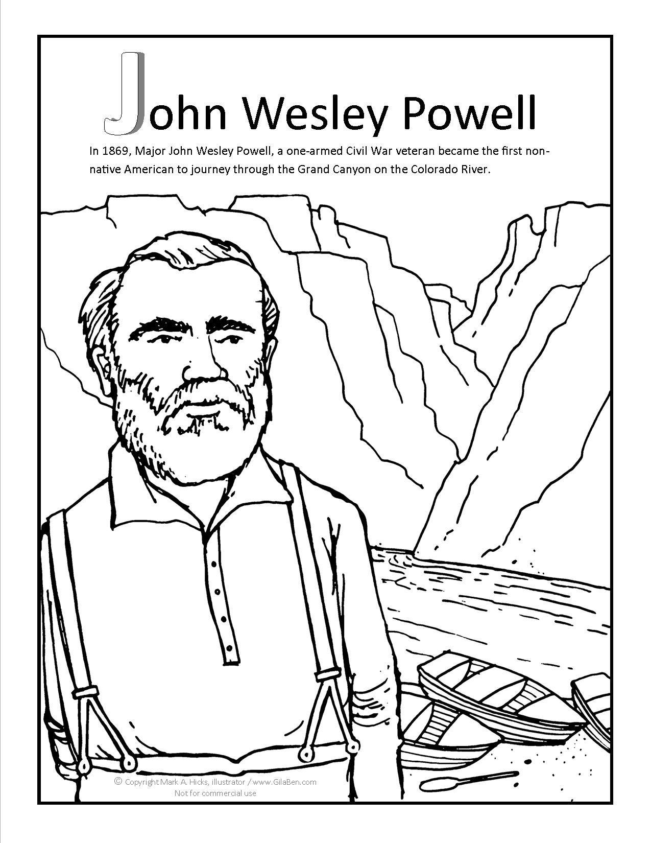John Wesley Powell Coloring Page At Gilaben