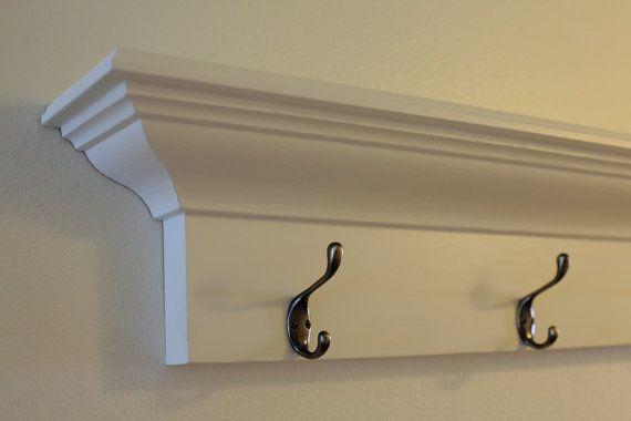 Coat Rack Wood Wall Shelves Floating White In Multiple Lengths 36 48 60 72 Wood Wall Shelf Coat Rack Diy Coat Rack