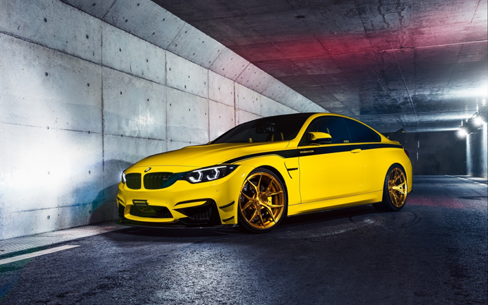 Download Wallpapers Bmw M4 F82 2018 Yellow Sports Coupe Tuning