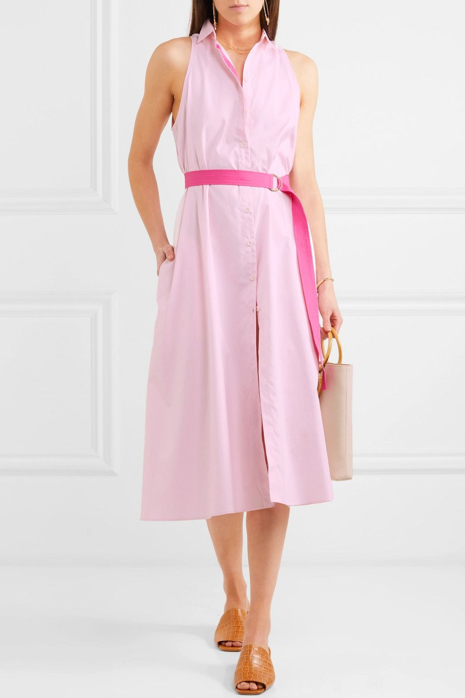 Belted Cotton-poplin Shirt Dress - Pink MDS Stripes With Mastercard Cheap Price Cheap Real Eastbay Discount Low Price Fee Shipping vWydhHix5