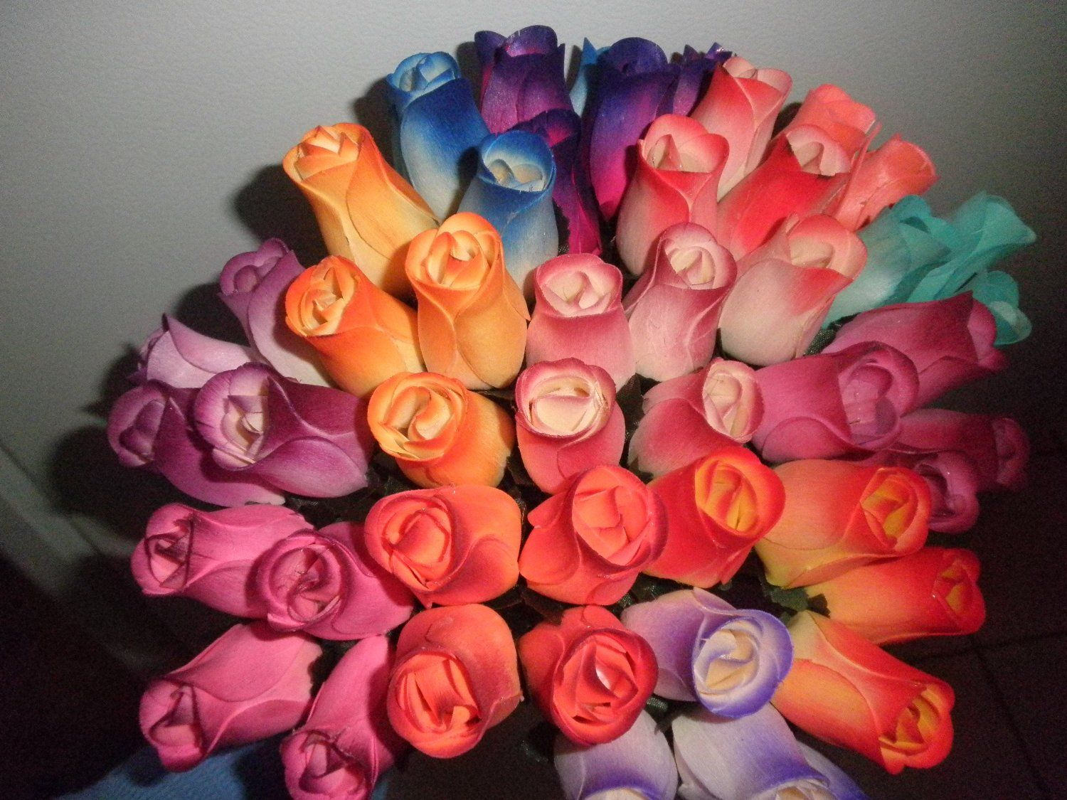24 Mixed Color Wooden Rose Buds Artificial Flower Price: $12.99 | Wooden roses, Rose buds ...