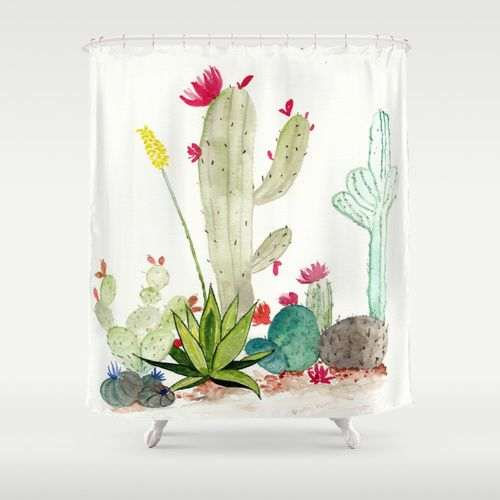 Boho Watercolor Cactus Seamless Shower Curtain Bathroom Decor