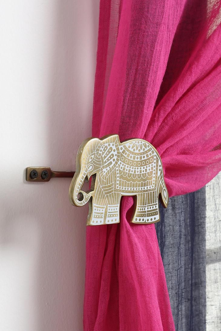 Etched Elephant Curtain Tie Back Elephant Curtains