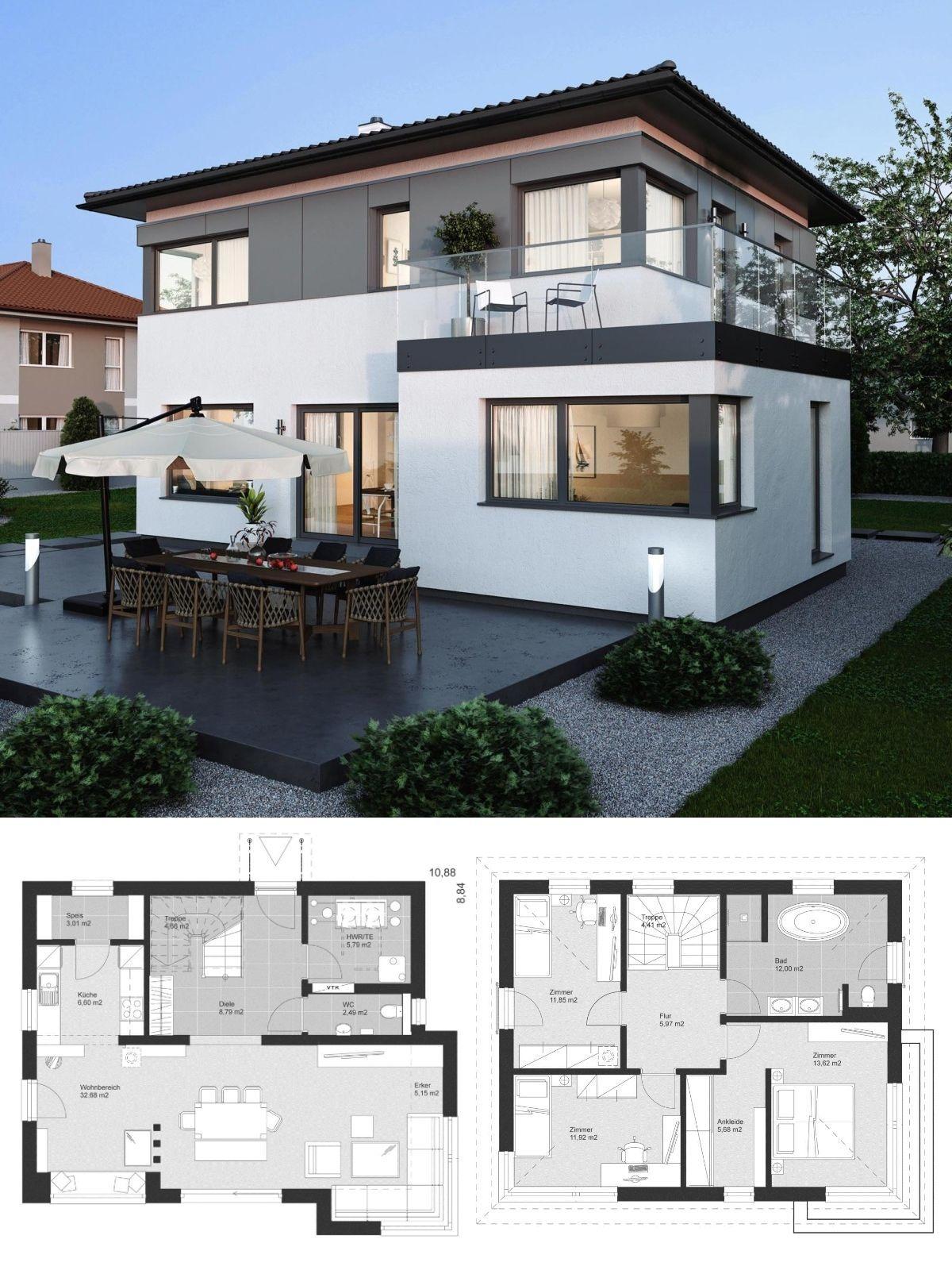 Stadtvilla modern im landhaus design mit walmdach for Einfamilienhaus bauen ideen