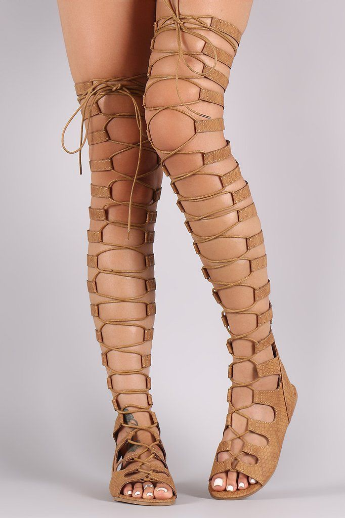 Strappy Snake Lace-Up Thigh High Gladiator Flat Sandal   Sale ...