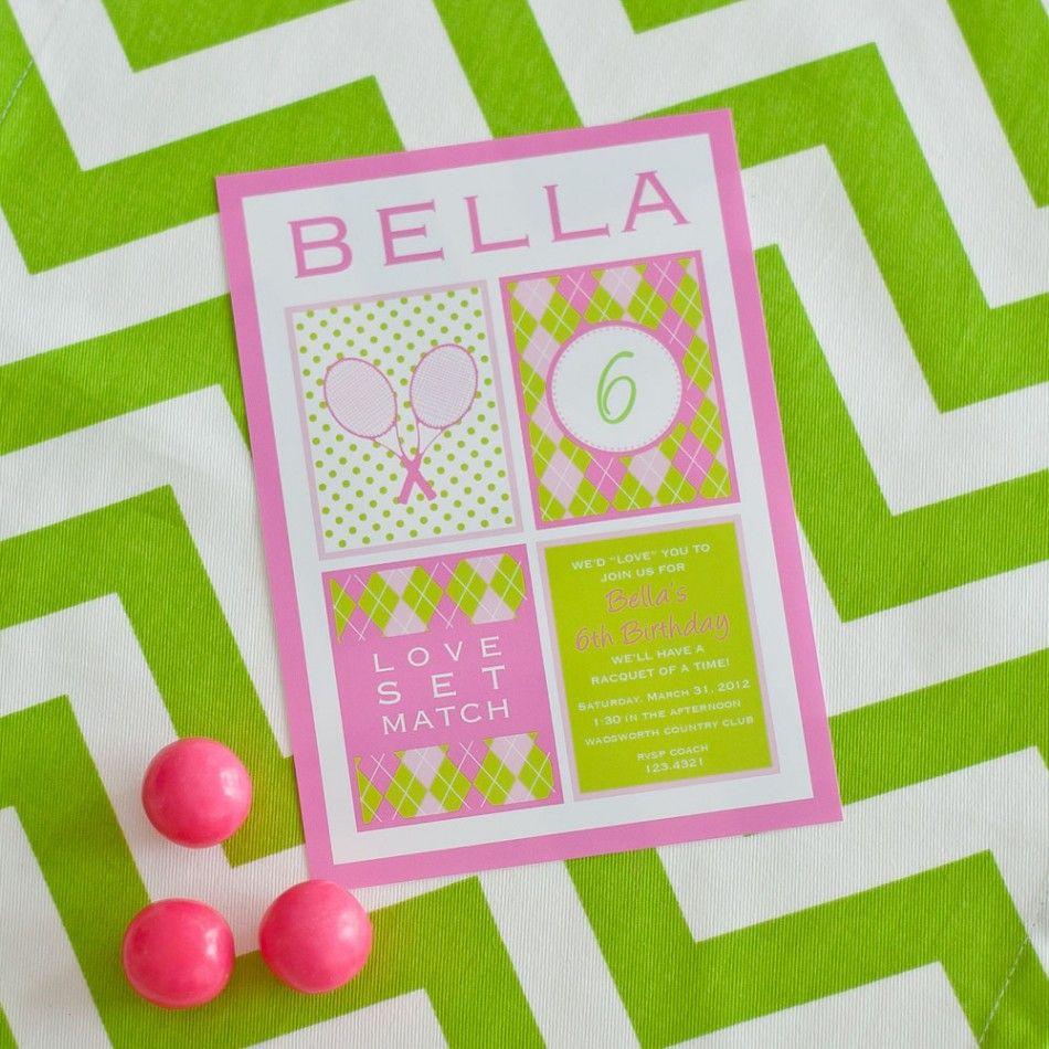 Preppy Tennis Birthday Party Printable Invitation - Pink Green-$18 ...