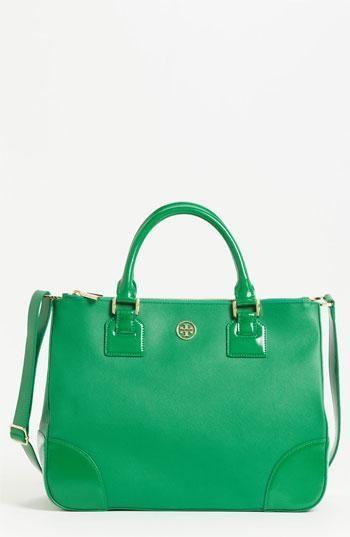 Vibrant emerald bag by Tory Burch!