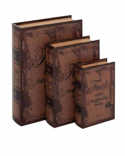 Leather Book Box Set Decor With Faith Inspirational Theme Set Decor Decorative Boxes Leather Books