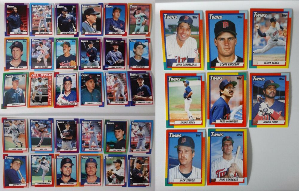 1990 topps minnesota twins team set of 38 baseball cards