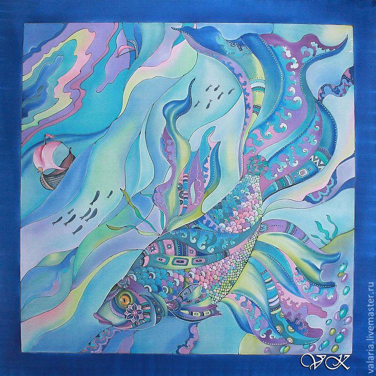 """Купить Батик платок """"Чудо-рыба"""" ручной росписи. - Батик, море, корабль, сказка, голубой"""