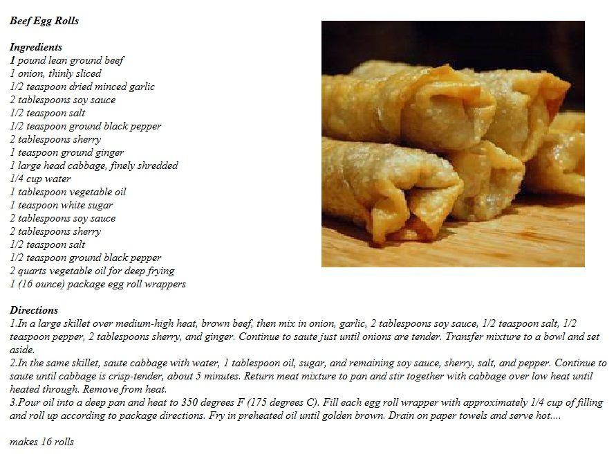 Beef Egg Rolls | Food Ideas | Pinterest