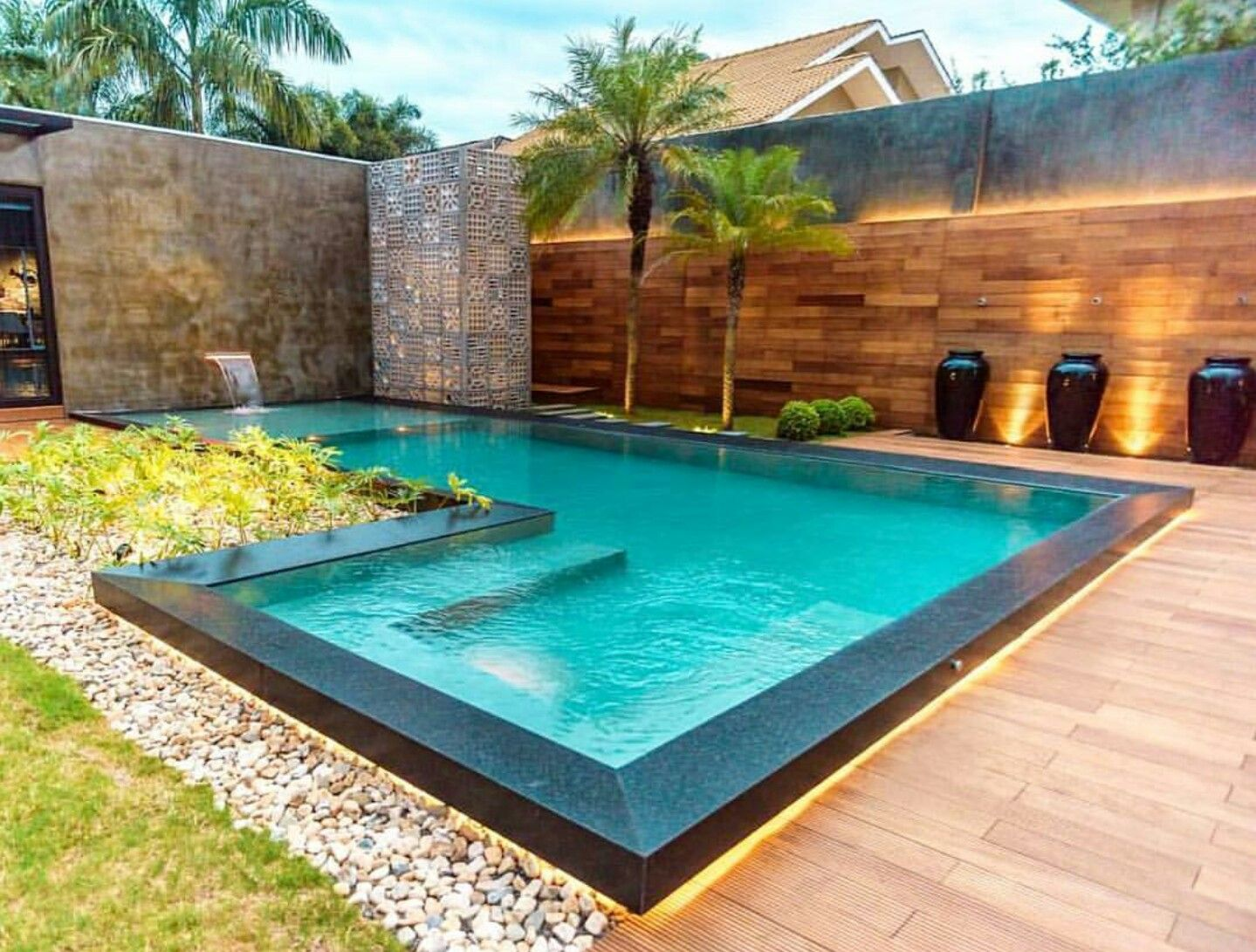A Modern L Shaped Pool Backyard Pool Indoor Pool Design