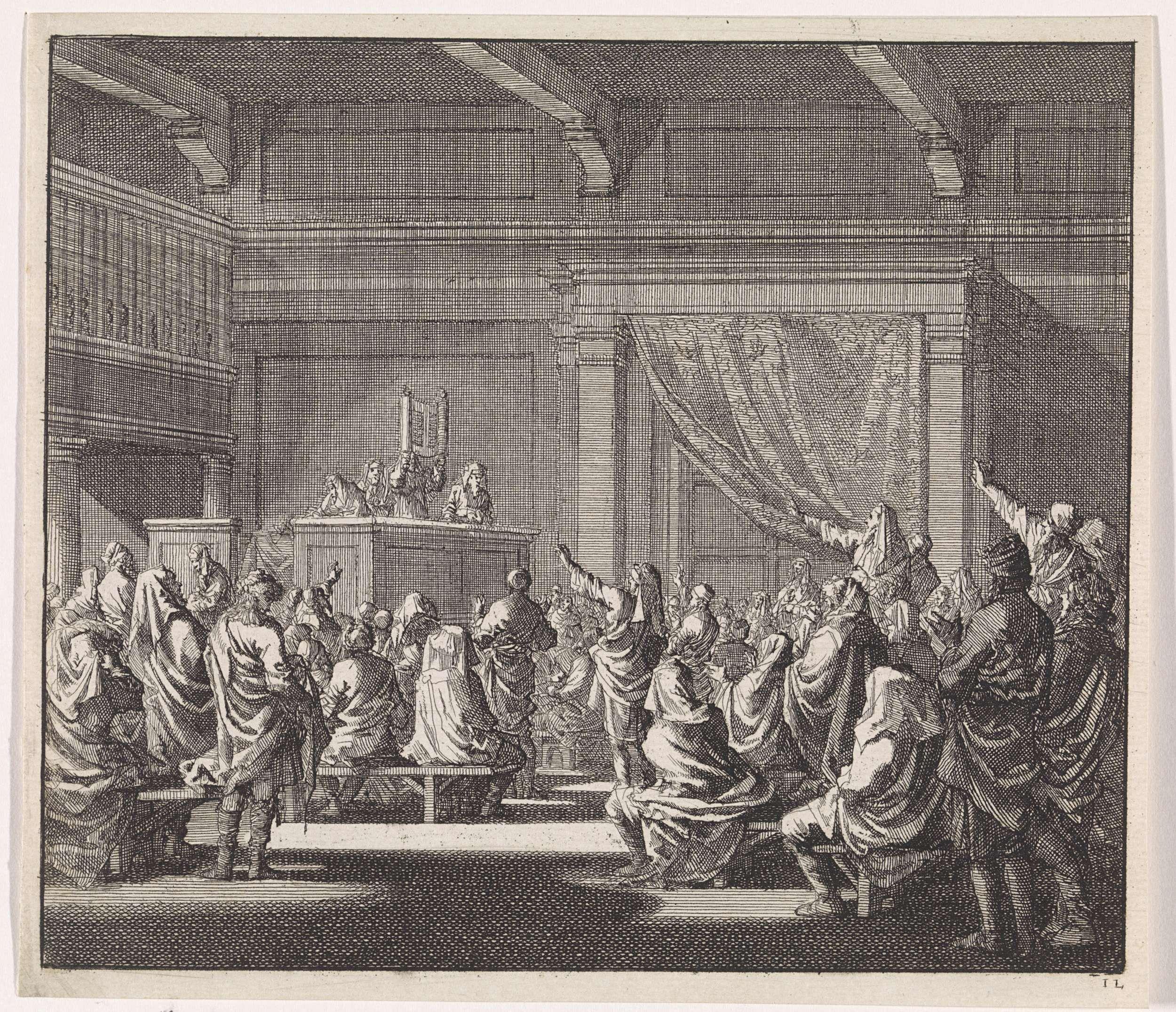 Jan Luyken | Synagoge waar een rabijn een wetrol voorleest, Jan Luyken, Daniel van den Dalen, Hendrik van Damme, 1702 | In een synagoge staat een rabijn op het spreekgestoelte (bima). Hij leest voor uit een wetrol van de Torah, die hij voor zich houdt. Enkele toehoorders houden hun rechterhand omhoog. Waarschijnlijk het Joodse feest Simchat Torah (Vreugde van de Wet).