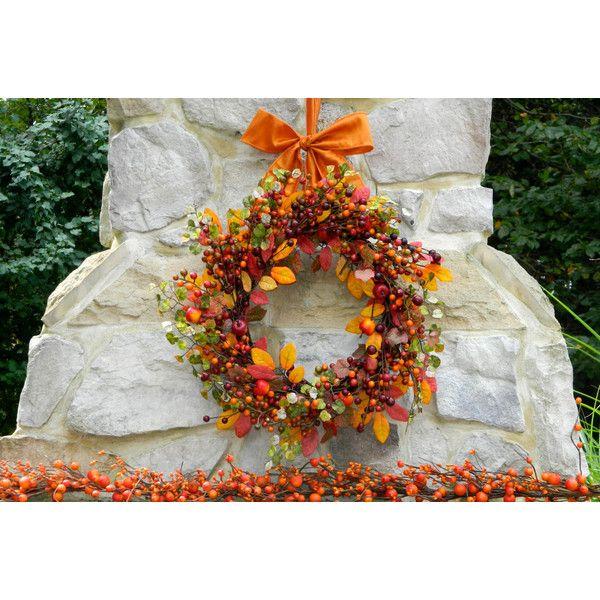 Autumn Berry Wreath Fall Wreath Thanksgiving Wreath -Quick Ship ($59) ❤ liked on Polyvore featuring home, home decor, star wreath, handmade wreaths, outdoor holiday decorations, thanksgiving wreaths and fall leaf wreath