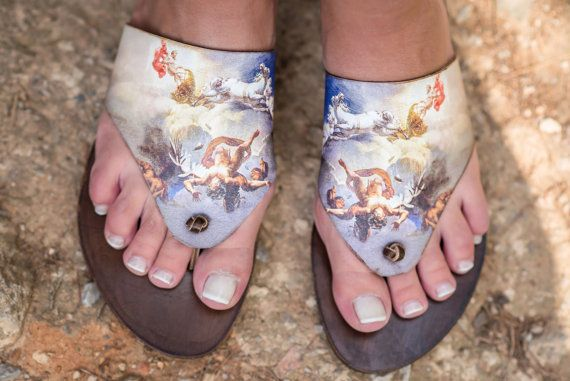 61386ae12eef9 Icarus Daedalus ancient Greek sandals printed leather flip Toe Ring Sandals