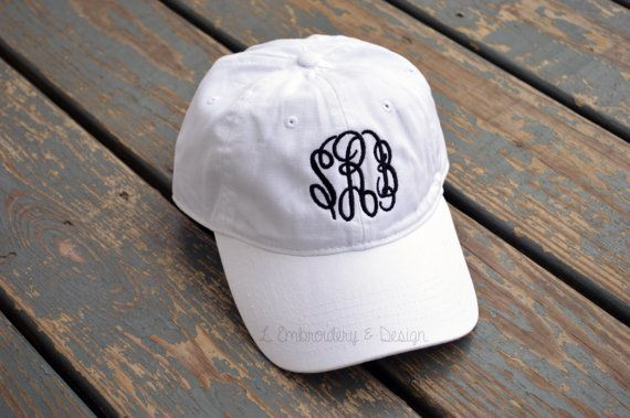 White Monogrammed Hat by LEmbroideryAndDesign on Etsy Want to order the  same look  Monogram Details  Infinity monogram font with black thread 858320ccf3ef