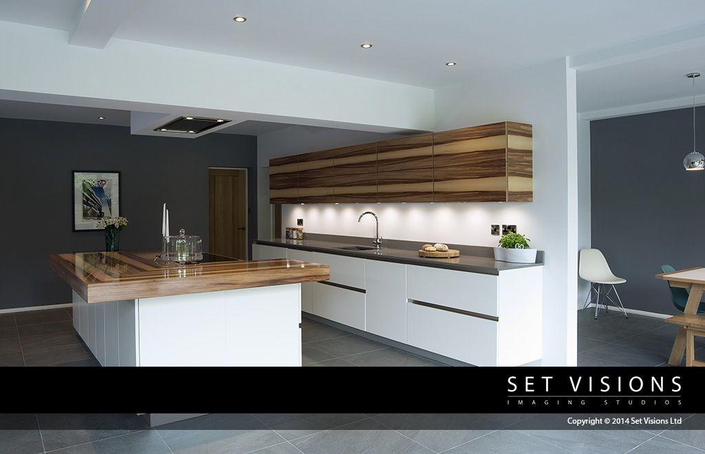 slate grey walls white gloss and oak kitchen location photography