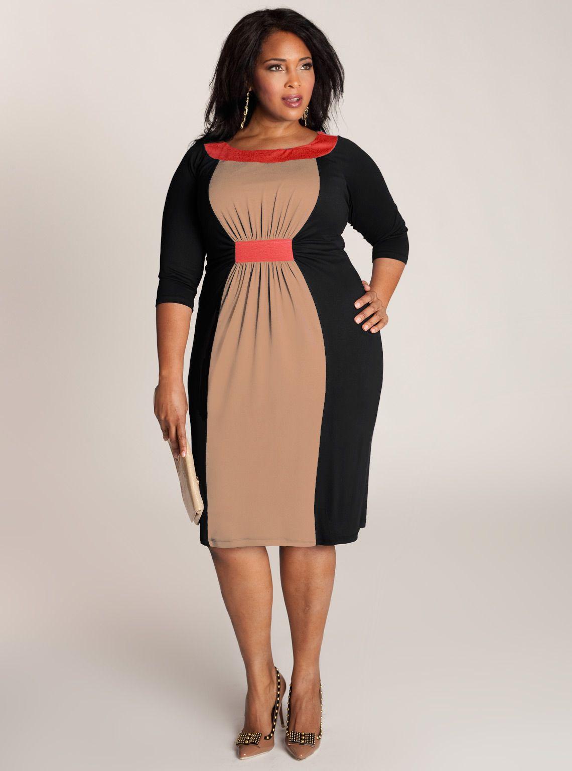 Sophie Plus Size Colorblock Dress In Black Stylesetgo